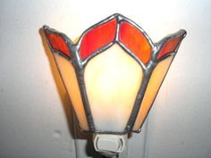 Items similar to LT Stained glass simple red gold beige night light lamp made with clear and opal glass on Etsy Lamp, Lamp Design, Glass Ornaments, Stained Glass Table Lamps, Nite Lights, Stained Glass Night Lights, Glass Butterfly, Night Light Lamp, Fan Lamp