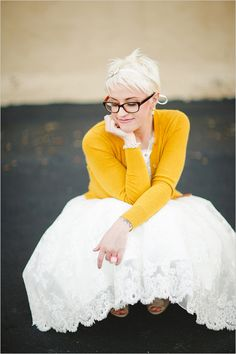 #Modest doesn't mean frumpy. #DressingWithDignity www.ColleenHammond.com Yellow Cardigan, Yellow Dress, White Dress, Amazing Weddings, Yellow Wedding, Bridal Looks, Love And Marriage, Our Wedding, Dream Wedding