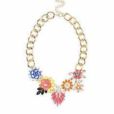 Gold tone flower cluster statement necklace $36.00