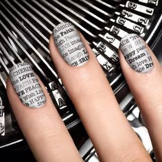 Newspaper Nails, Cool Newspaper Nail Art Ideas,  http://hubz.info/89/fantastic-wall-tree-decorating-ideas-that-will-inspire-you