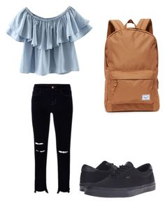 """Sin título #3"" by yes-ame on Polyvore featuring moda, WithChic, Vans, J Brand y Herschel Supply Co."