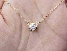 Inspired by a Tiffany design, this tiny dot necklace has:  1. a white gold plated or gold plated or rose gold plated diamond cut crystal dot-6mm 2. a sterling silver or 14k gold filled or 14k rose gold filled chain with a lobster clasp 3. an optional customizable note card, laser printed on heavy weight cardstock, in elegant font Packaged in a beautiful, premium quality gift box (pictured)  If you choose the note card option, please leave your message on the card in your checkout note…