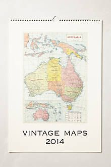 Vintage-Inspired 2014 Calendar: Who wouldnt want a map calendar?? #anthrofave
