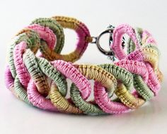 Irish Crochet Bracelet Fiber Bracelet  Faux Chainmail Pink Sage Ecru Pale Yellow. $40.00, via Etsy.