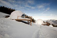 white pod resort, swiss alps.