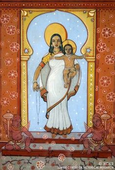 Indigenous Jesus: Angelo da Fonseca: Portrait of an Eclectic Genius india sari Mother Of Christ, Blessed Mother Mary, Divine Mother, Religious Icons, Religious Art, Virgin Mary Art, Images Of Mary, Spiritual Images, Religion Catolica