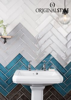 Montblanc Brick, White, Pearl, Blue and Anthracite Black from Original Style's Tileworks collection. Use these beautiful high gloss tiles to create a herringbone pattern, in your bathroom or kitchen.