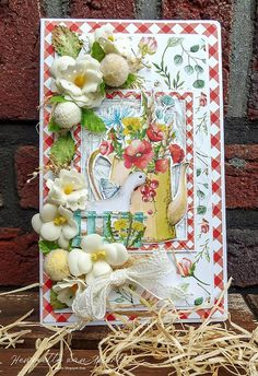 Card with Farm life papers from Mintay Shabby Chic Cards, Vintage Shabby Chic, Make Blog, Scrapbook Paper, Scrapbooking, Vintage Farm, Pretty Cards, Card Tags, Paper Cards
