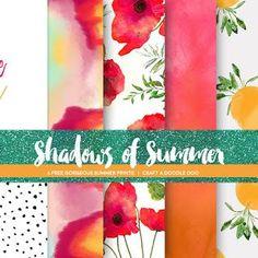Floral digital art and paper set