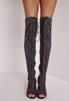 Knee High Lace Up Boots Grey - Shoes - High Heels - Missguided