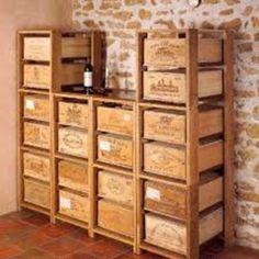 Custom Built Shelving for Original Wine Crates Wooden Wine Boxes, Wooden Crates, Wine Crates, Vintage Furniture, Diy Furniture, Crate Shelves, Wine Cork Crafts, Pallet Art, Wine Storage