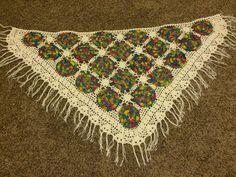 Upcycled Vintage Granny Afghan Wrap Shawl Multi Color Crochet Boho Pinwheel Look #Handmade #BoleroShrug