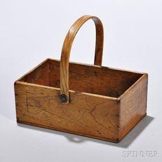 Small Shaker Butternut Swing-handled Rectangular Carrier   Sale Number 2898M, Lot Number 210   Skinner Auctioneers