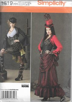 Simplicity 1819 Size 6-8-10-12 Teresa Laquey Reenactment Steampunk Misses' Costume Sewing Pattern 2012 Uncut by LadybugsandScorpions on Etsy