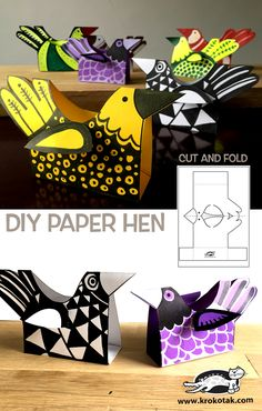 Make a DIY paper her with a printable template. Super cute craft for kids! Projects For Kids, Diy For Kids, Art Projects, Crafts For Kids, Diy Crafts, Papier Diy, Chicken Crafts, Diy Tumblr, Paper Birds