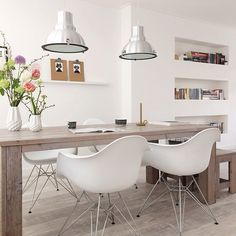 Modern Dining Room Ideas – Modern style design has clean lines and curves, without clutter. The modern wall colors are […] Decor, Modern Dining, Room Design, Interior, Home, Modern Dining Room, House Interior, Mid Century Modern Dining Room, Mid Century Dining Room