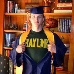 Perfect for your high school graduation! Wear a Baylor T-shirt underneath your robe.