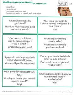 Mealtime conversation starters for school kids. www.nybeef.org. School Kids, Conversation Starters, Family Meals, Best Friends, How To Make, Beat Friends, Bestfriends, School Children, Pickup Lines