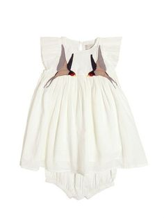 Oh, this baby dress set is so beautiful. Can I get one in a mama size? Organic cotton muslin has summer in the south written all over it!