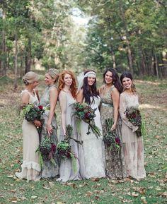 fall bohemian mismatched bridesmaid dresses