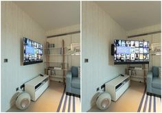 The kitchen TV mounted on the bespoke Future Automations swivel wall bracket