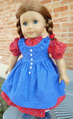 """18"""" Doll Clothes Historical Doll Clothes Prairie Style Dress and Pinafore Fits American Girl Kirsten, Keepers Pattern"""