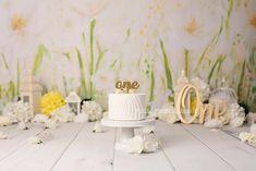Spring floral cake smash photography set Smash Cake Girl, Cake Smash Photography, Floral Cake, Candyland, Birth, Table Decorations, Spring, Ideas, Home Decor