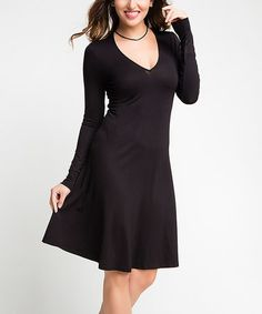 Look what I found on #zulily! Black V-Neck Skater Dress #zulilyfinds