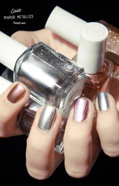 ESSIE Collection Mirror Metallics: Penny Talk, Nothing Else Metals, Blue Rhapsody, Good As Gold