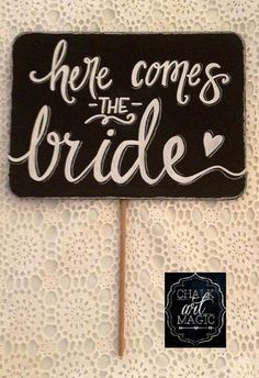 Here comes the bride chalkboard sign with carry handle. Chalkboard is approx. Ideal for children to carry at weddings or to use as a prop in photographs. Handmade Wedding, Diy Wedding, Dream Wedding, Bride Quotes, Wedding Table Setup, Wedding Signs, Wedding Aisles, Black Wedding Invitations, Wedding Rings Simple