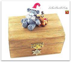 Boîte à musique petit coffre Ourson Noël et petit renne Rudolph : Chambre d'enfant, de bébé par lesfimodelicesdenathy