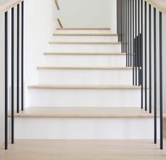 It is important to make sure the treads either match pretty closely or you go darker or much lighter to create contrast. If the treads are just a little off they will look as though you tried to match them, but didn't really make it happen. #stairs #stairrailing