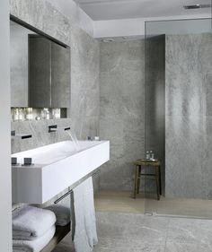 Mystone Quarzite ceramic tiles #Marazzi #ceramics #porcelain #tiles #floortiles #stonelook #stoneeffect #bathroom #bathroomdesign