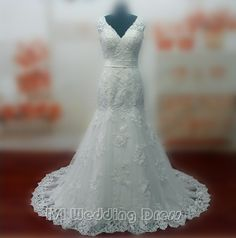 213.00$  Watch now - http://viahc.justgood.pw/vig/item.php?t=gdi8jq16677 - Real Pictures Sexy V-neck Wedding Dresses with Sash and Appliques Bridal Gowns 213.00$