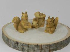 Fairy Garden accessories squirrels SET OF 3 - miniature garden accessories - terrarium accessory - craft diy supply - woodland animals