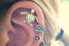 Shelly Silver Turtle 16G Ear Piercing Barbell