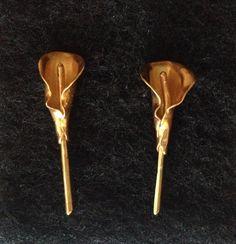 Aretes Cartuchos en plata con baño en oro 30.000 pesos