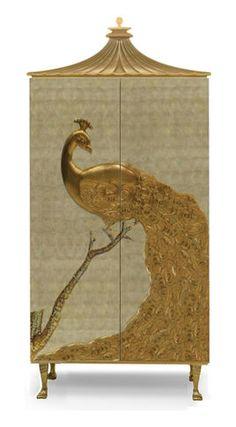 GOLD PEACOCK ARMOIRE