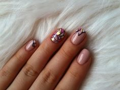 Paznokcie hybrydowe mozaika + glass nails (Hybrid nails) - YouTube