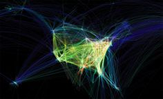 The paths of air traffic over North America visualized in color and form
