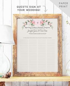 Rustic Quaker Marriage Certificate - Wedding Guest Book Alternative - Marriage Contract - Rustic Guest Book - The Bailey Set - PAPER