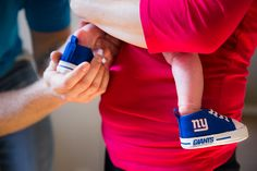 Clinton is raising his little girl to be a Giants fan. #baby #lifestyle #Giants #shoes #Coeurd'Alene #Idaho