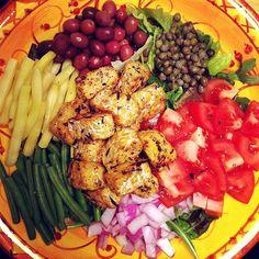 With a lemon-tahini garlic dressing!  Salade Niçoise #vegan This looks phenomenal!!!