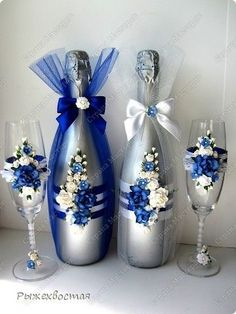 Decorative Bottles: Wedding Bottles (Continued) More - Read More - Source by contact_DecorHome Wedding Wine Glasses, Wedding Bottles, Wedding Champagne, Glass Bottle Crafts, Wine Bottle Art, Wine Bottles, Decorated Wine Glasses, Painted Wine Glasses, Recycled Glass Bottles