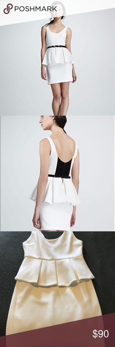 Alice and Olivia white peplum dress 👗 Gorgeous Alice and Olivia dress, perfect for wedding season or a night out. In great condition. Roughly 15.5 across the bust laying flat (armpit to armpit). Really cool black mesh detail on the black. Missing black belt. Alice + Olivia Dresses Mini