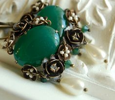 apple blossom  vintage inspired ornate floral jade by jewelryvixen, $94.00