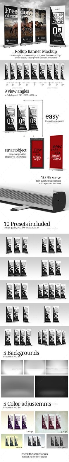 Easy to use and powerfull roll-up banner mockup. // 1 PSD file with all 9 view angles – 12000×4000 px // 10 PSD ready presets files – 6000×4000 px // 1 PSD file with filters and backgrounds // 5 filters (color adjustments) presets // 5 backgrounds  editable via smartobjects // ready for white or transparent background with keeping all shadows