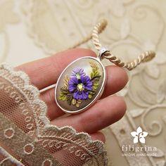 VIOLET FLOWER spring Easter pendant silver tone oval by Filigrina