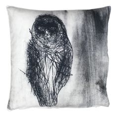 Pentik Fauna Owl Throw Pillow Owls are intriguing birds that can easily capture a lot of attention. Designed by Lasse Kovanen, the Pentik Fauna Owl Throw Pillow is sure to do the same. It features a sketched owl in the shades of bl. Owl, Cushions, Textiles, Tapestry, Throw Pillows, Room Stuff, Design, Decor, Blankets