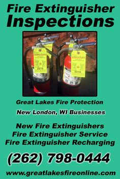 Fire Extinguisher Inspections New London, WI (262) 798-0444.. Local Wisconsin Businesses you have found the complete source for Fire Protection. Fire Extinguishers, Fire Extinguisher Service.. We're got you covered.. Great Lakes Fire Protection
